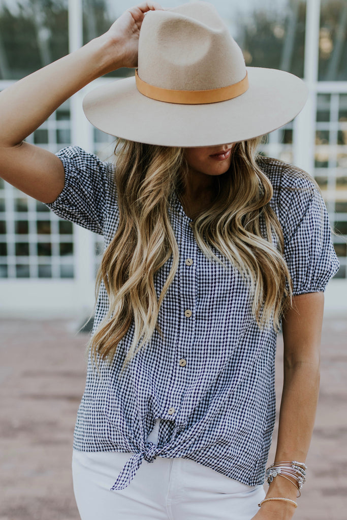 Black + White Gingham Print Tie Top | ROOLEE