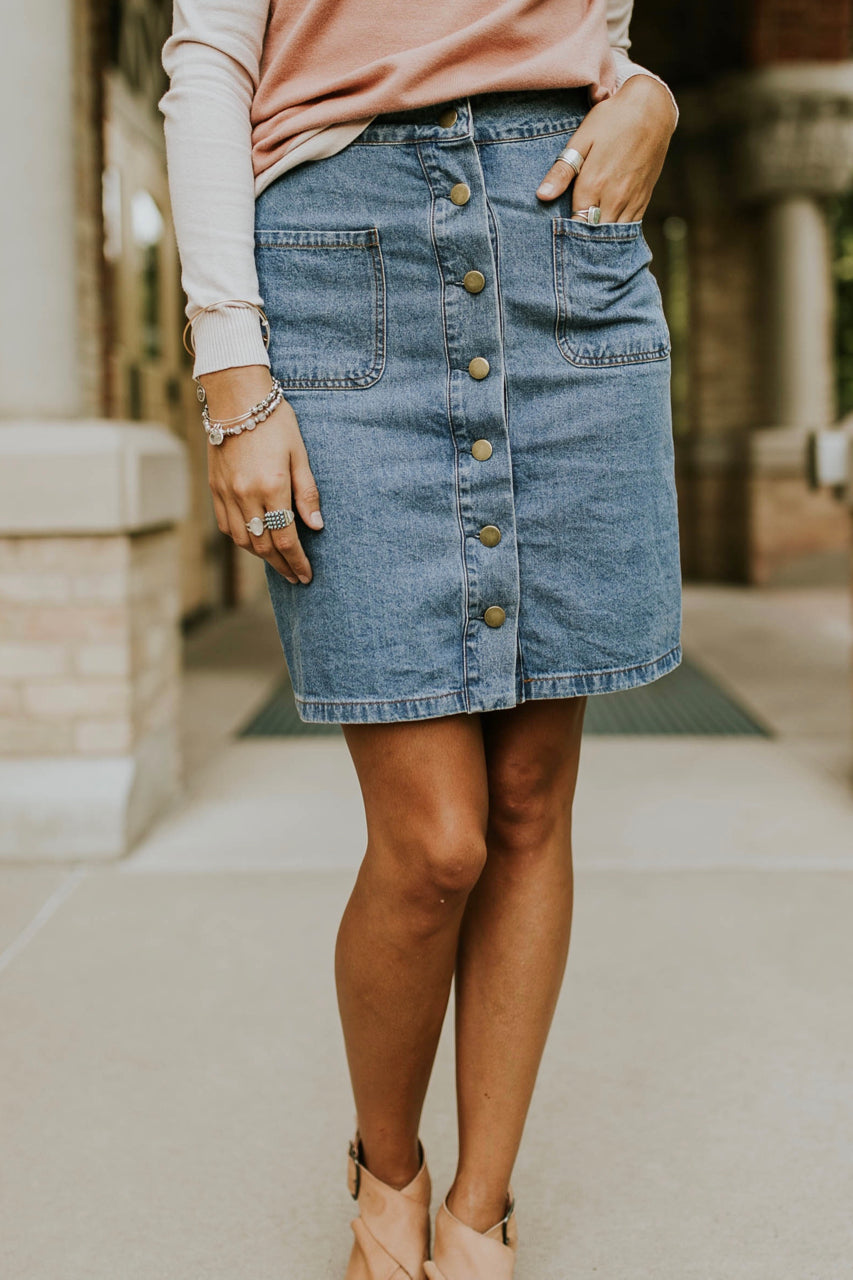 Denim Button Up Skirt | ROOLEE
