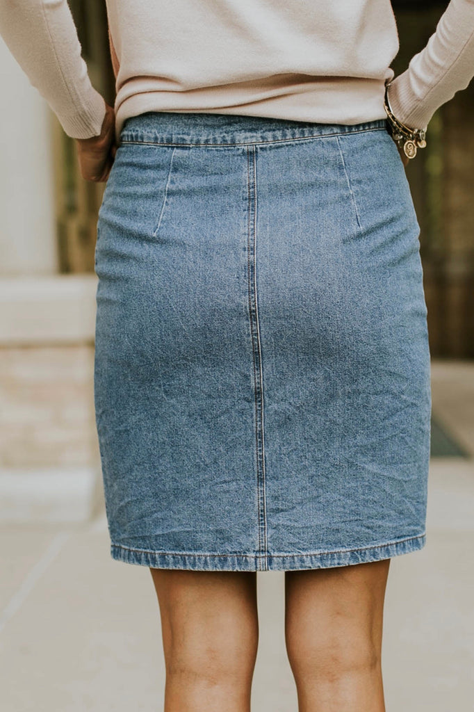 Light Wash Denim Skirt | ROOLEE