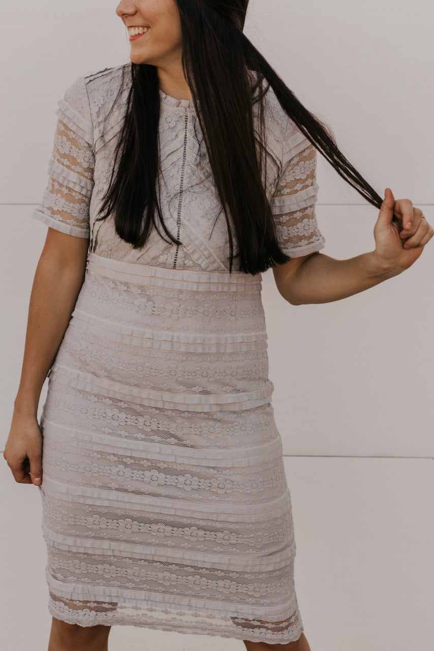 Grey Floral Lace Dress | ROOLEE