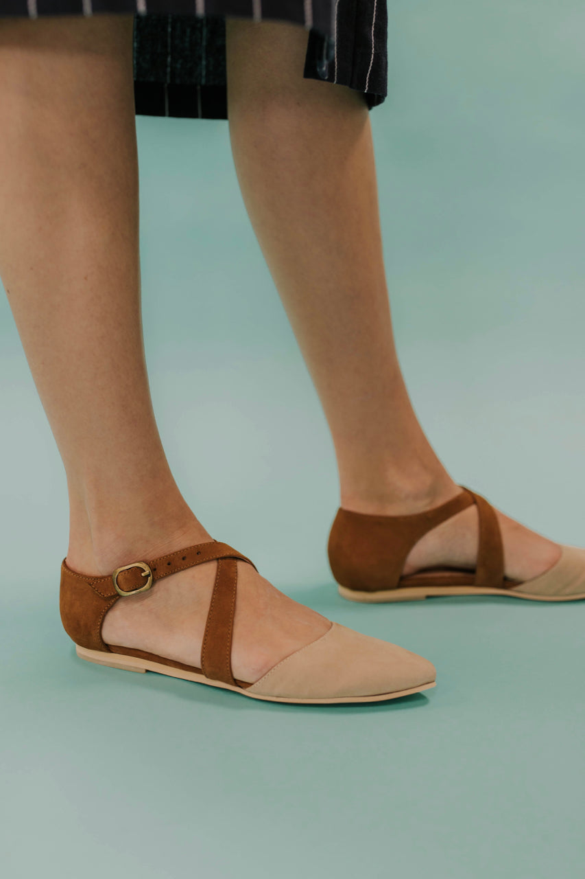 Beige Strappy Flat Sandals | ROOLEE