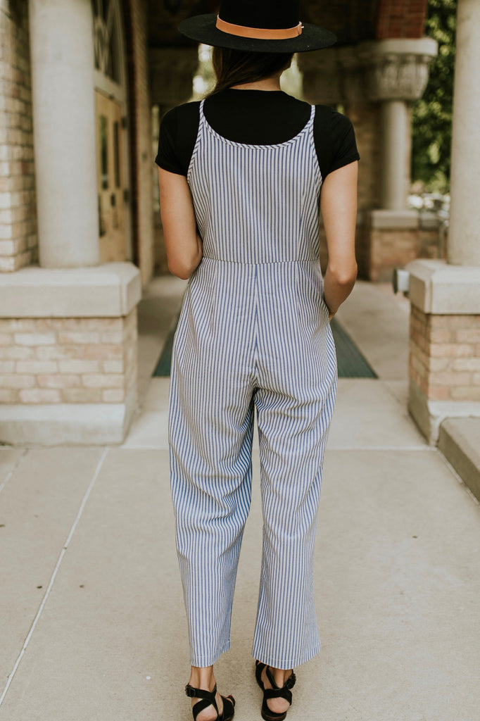Blue and White Stripe Jumpsuit | ROOLEE