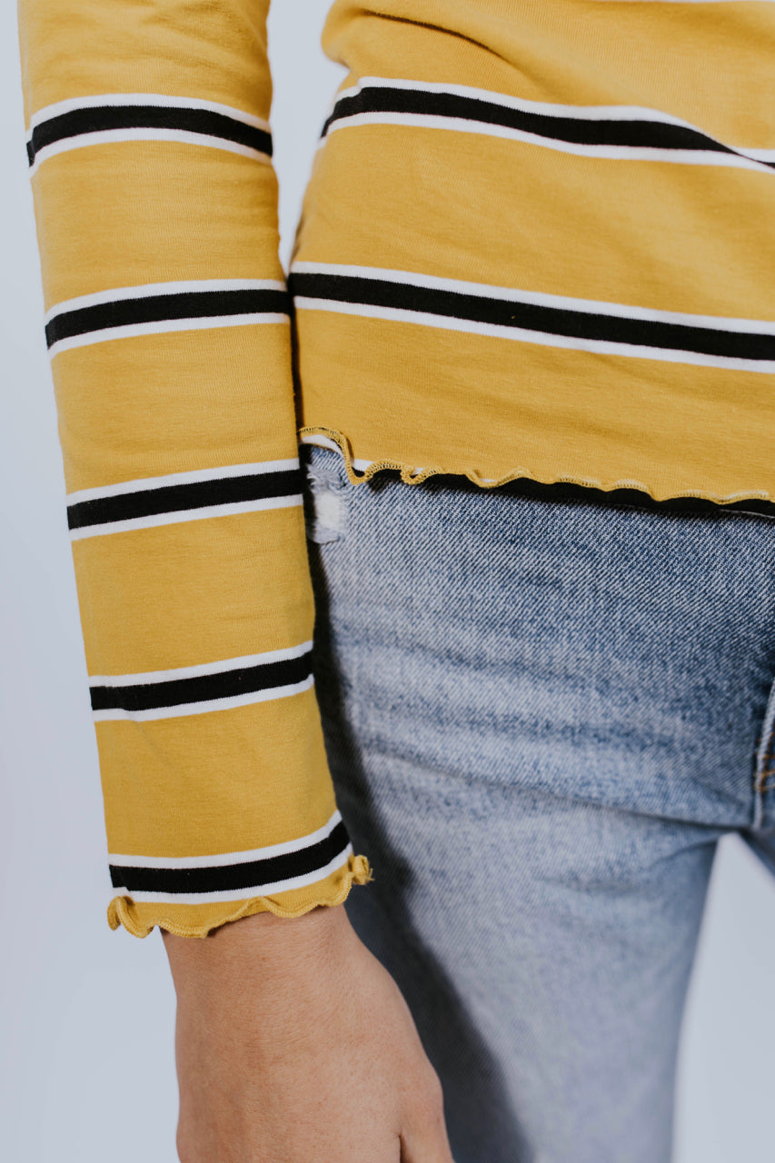 Stripe Top in Mustard | ROOLEE