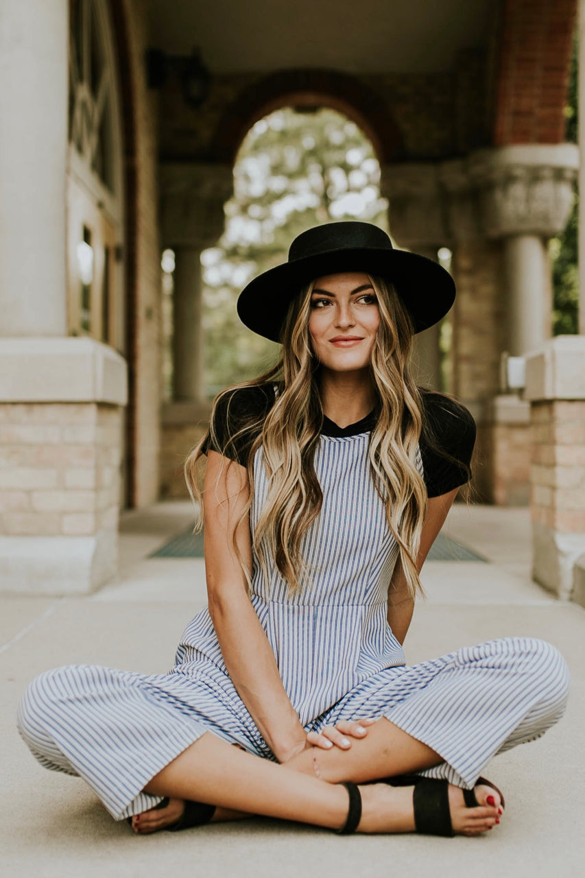 Blue and White Stripe Jumpsuit Outfit | ROOLEE