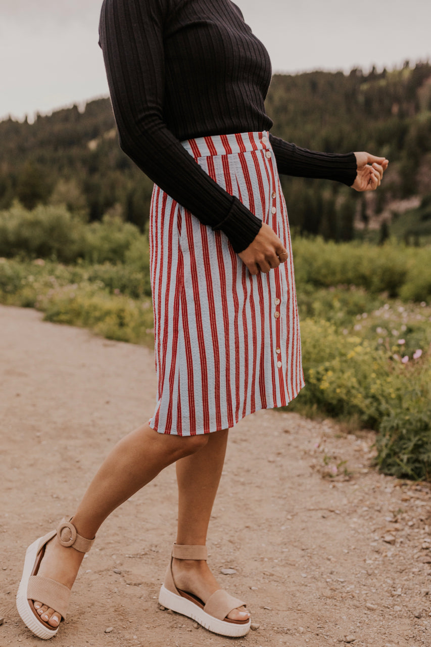 Multi Stripe Button Skirt | ROOLEE