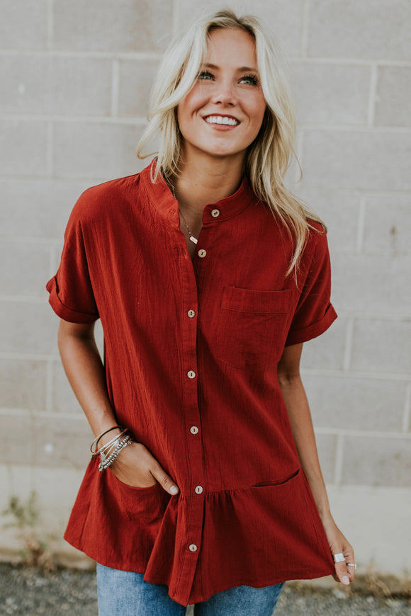Lisa Button Peplum in Red | ROOLEE