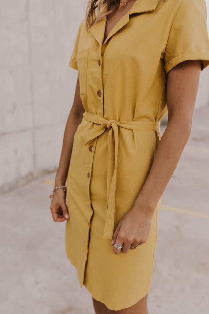 Yellow Buttoned Summer Dress | ROOLEE