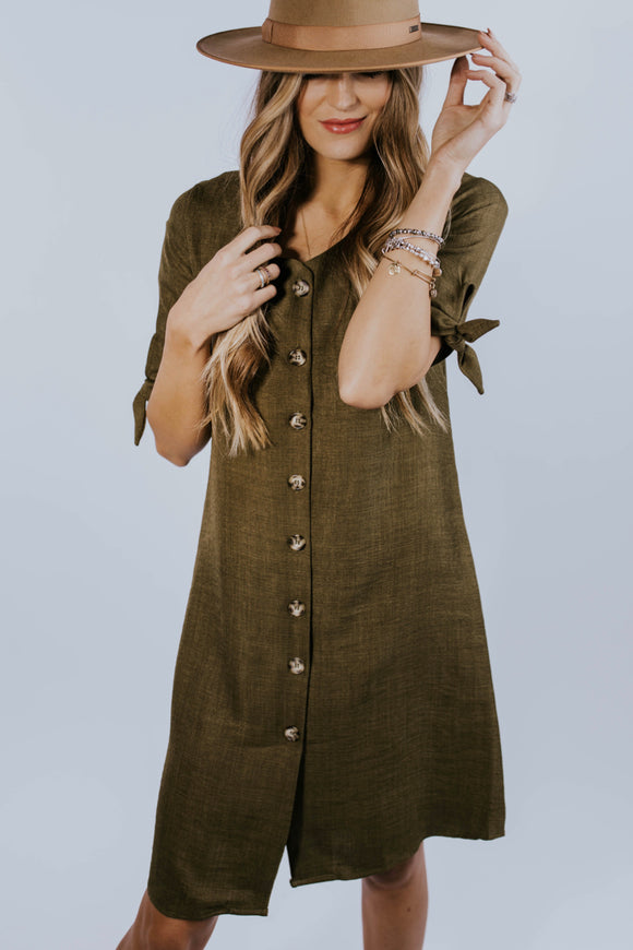 Olive Button-Down Dress | ROOLEE