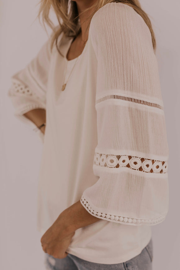 Lace Detail Sleeve Top | ROOLEE
