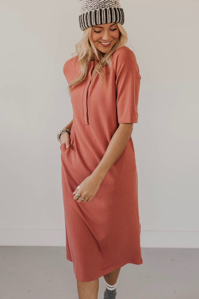 Neverland Button Dress in Mauve | ROOLEE