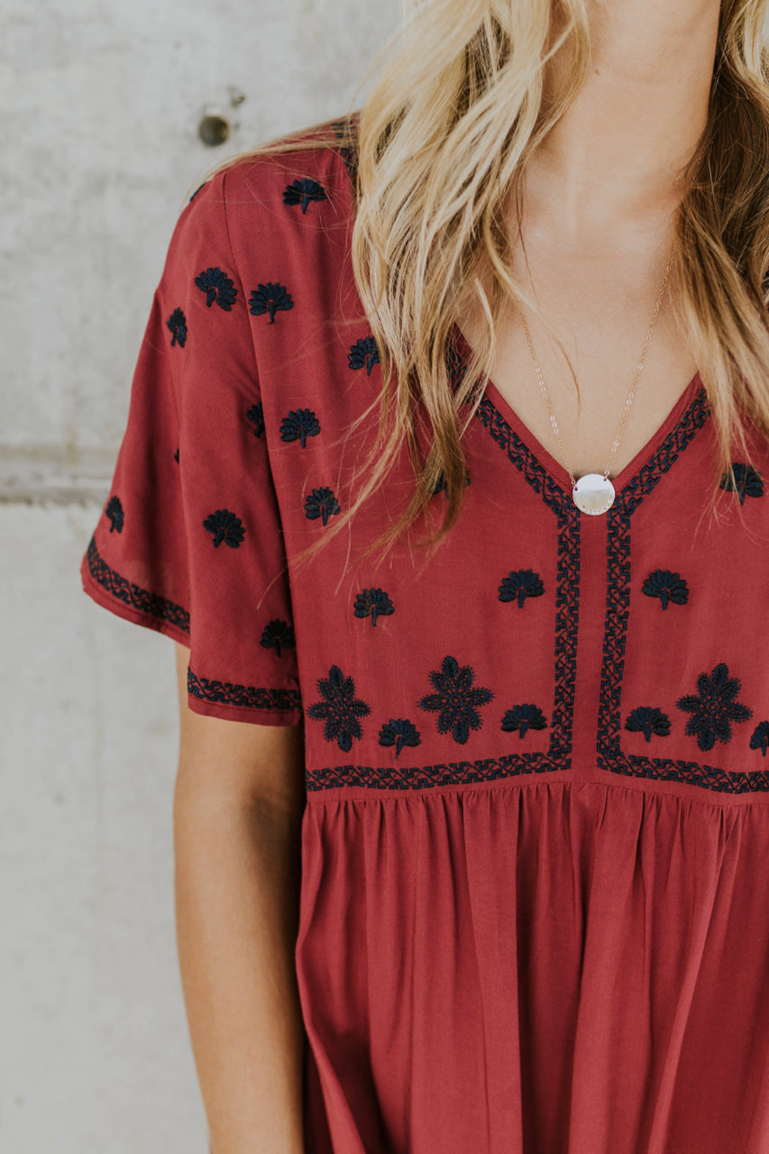 Embroidered Bell Sleeve Dress | ROOLEE