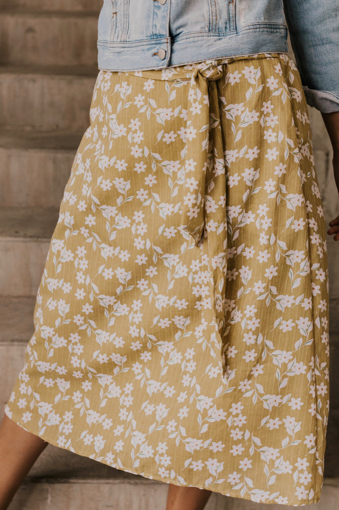 Yellow Floral Midi Skirt | ROOLEE
