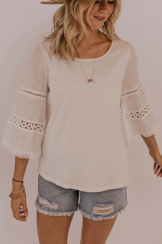 Long Sleeve Eyelet Top | ROOLEE