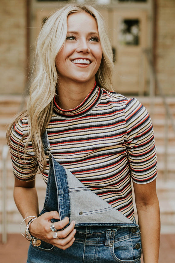 Stripe Mock Neck Top | ROOLEE