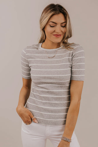 Grey Striped Classic Tee Outfit Ideas | ROOLEE