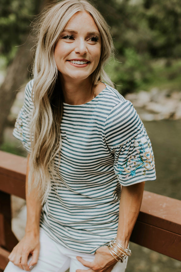 Katrina Embroidered Top in Blue | ROOLEE