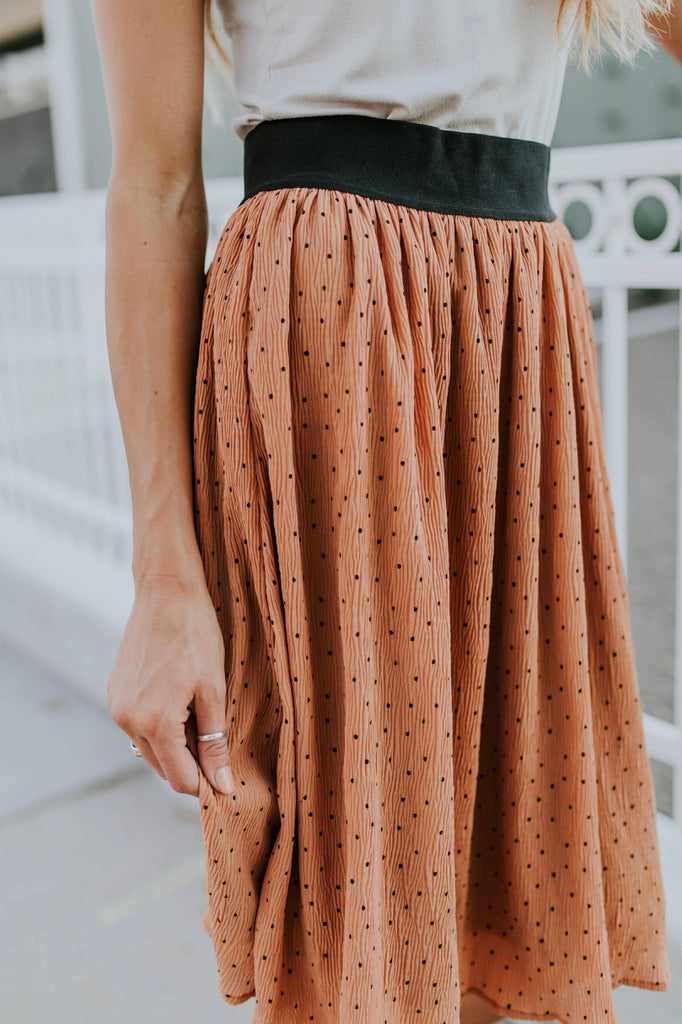 Copper Midi Skirt With Black Print | ROOLEE