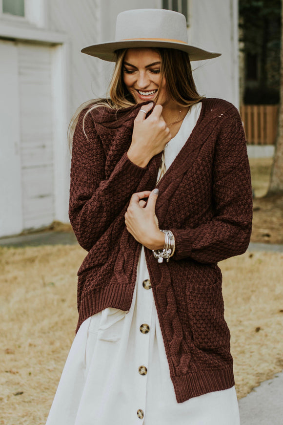Evolve Knit Cardigan in Plum | ROOLEE