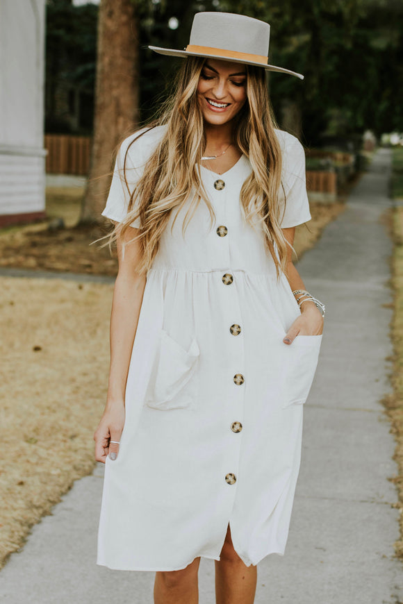 Esmae Button Dress | ROOLEE