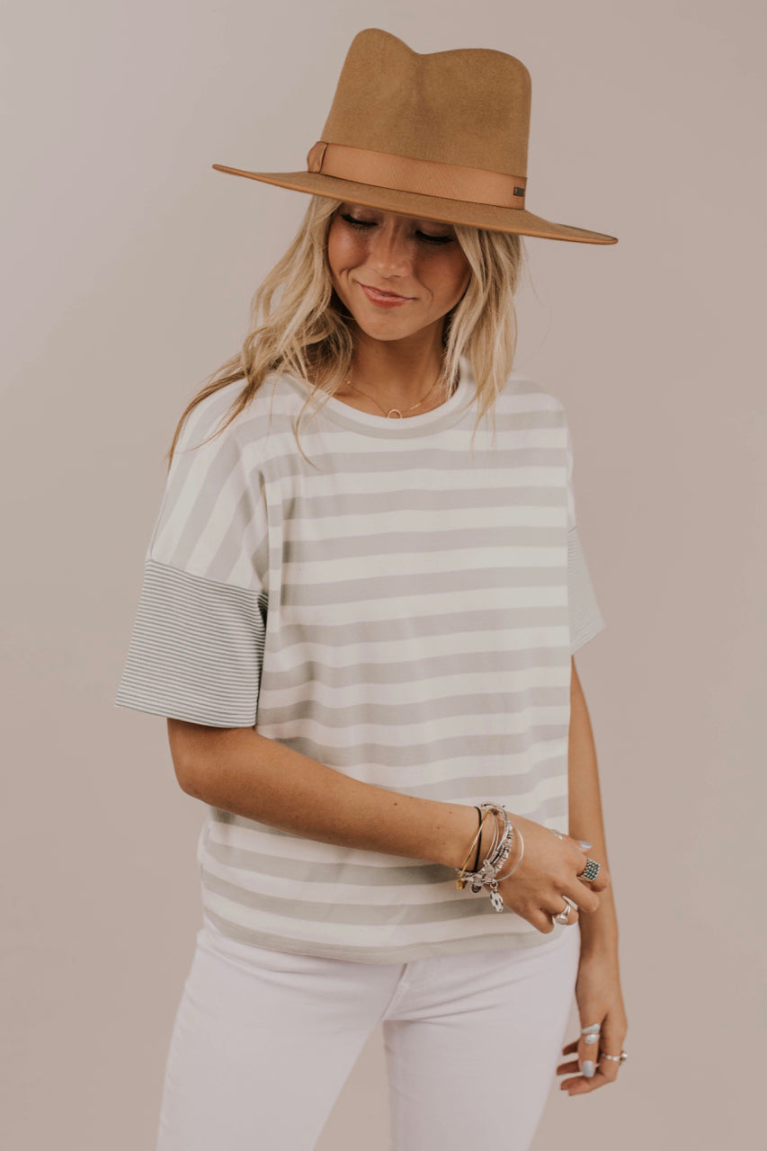 Thick Knit Stripe Tee Outfit Ideas | ROOLEE