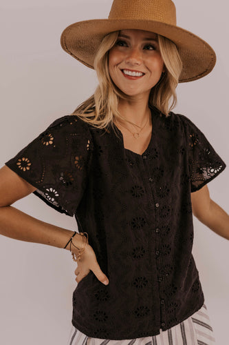 Black Eyelet Top | ROOLEE