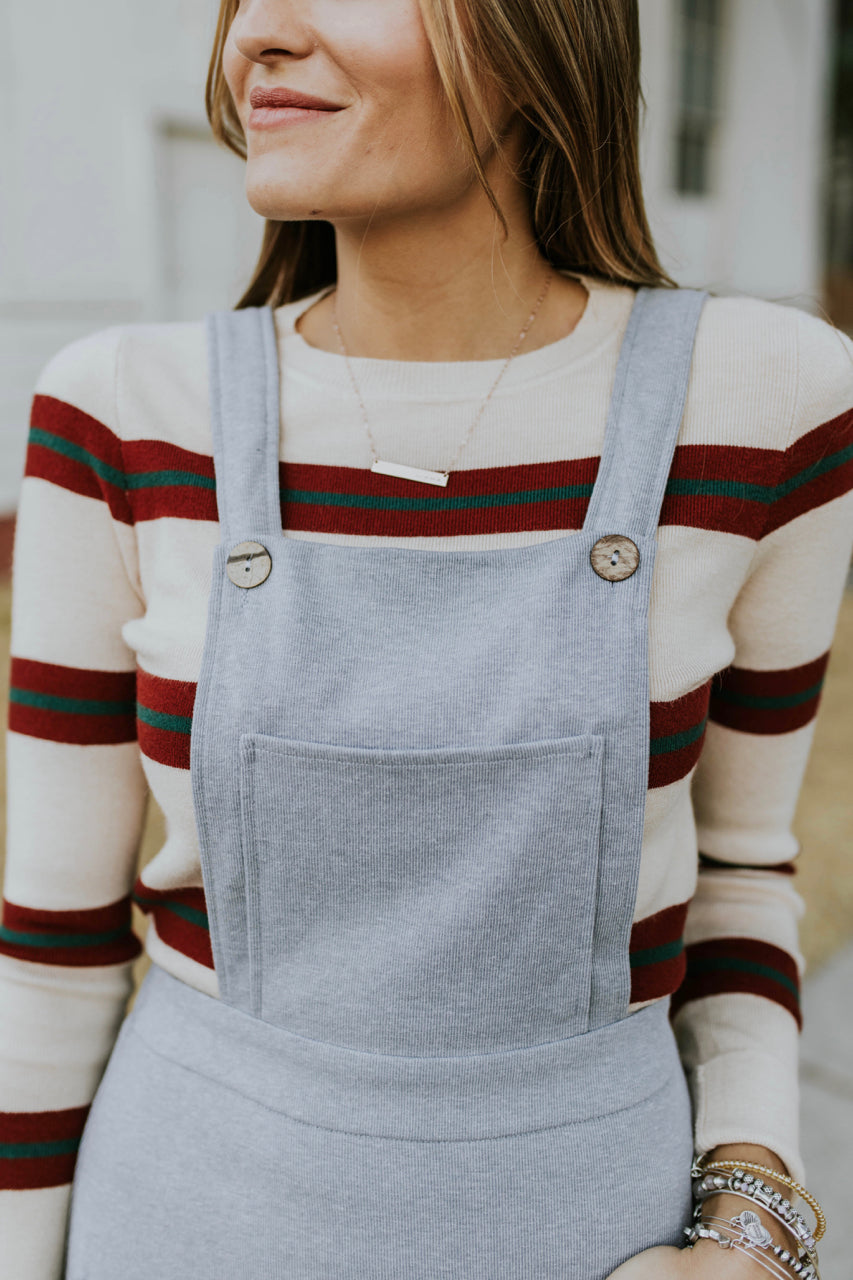 Grey Button Overall Jumper | ROOLEE