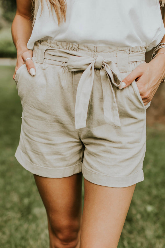 Makenna High Rise Shorts in Taupe | ROOLEE