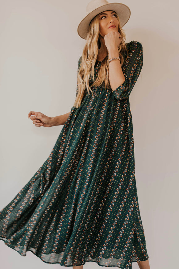Green Floral Maxi Dress | ROOLEE