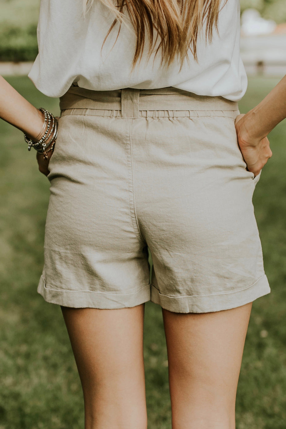 Linen Taupe Shorts | ROOLEE