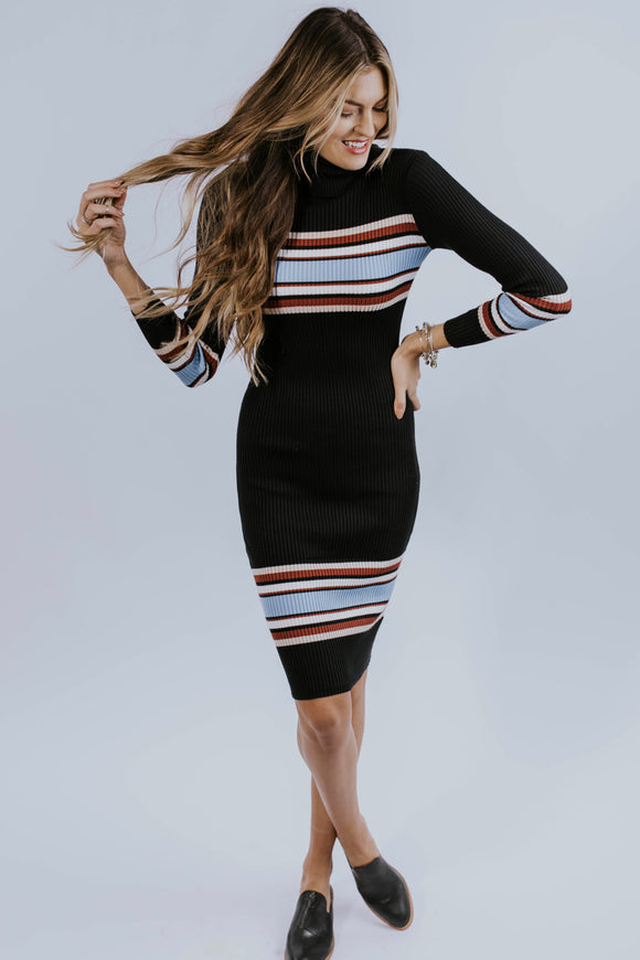 Retro Stripe Turtleneck Bodycon Dress | ROOLEE