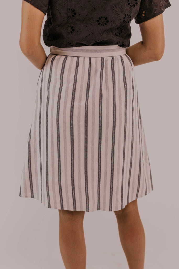 Striped Skirt Modest Outfit | ROOLEE