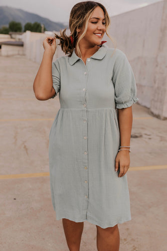 Sage Button Dress | ROOLEE