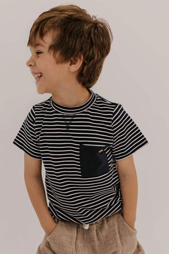Striped Pocket Tee for boys | ROOLEE