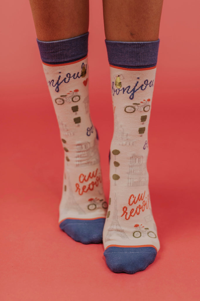 Woven Pear Paris Socks