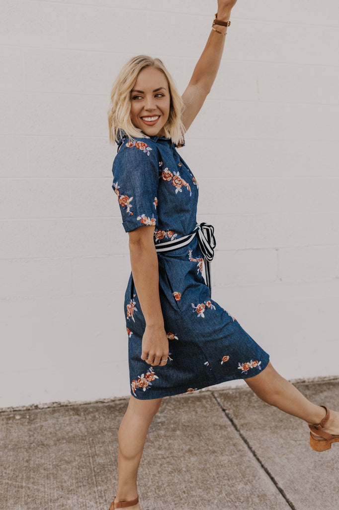 Denim Button up Midi Dress | ROOLEE