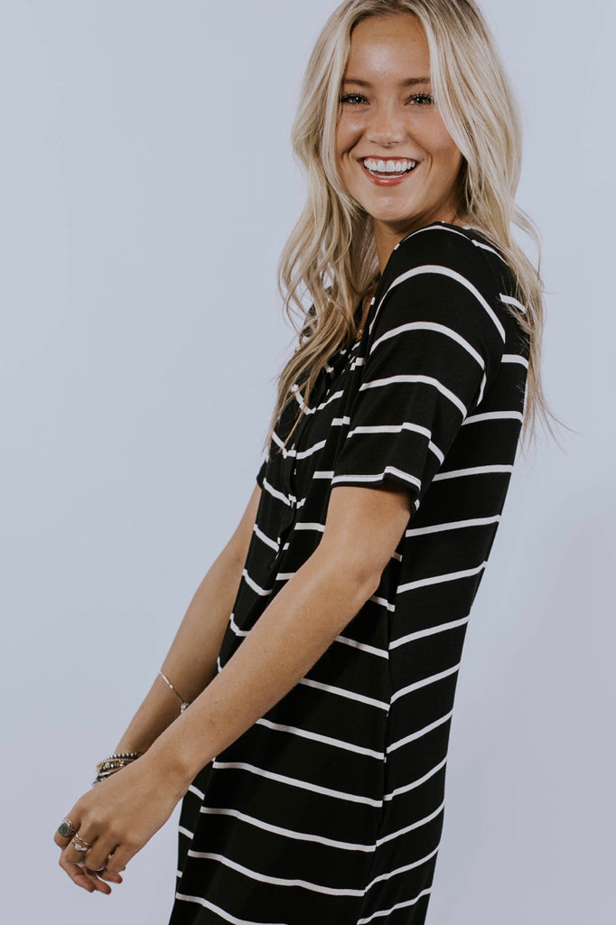 Button Stripe Dress | ROOLEE