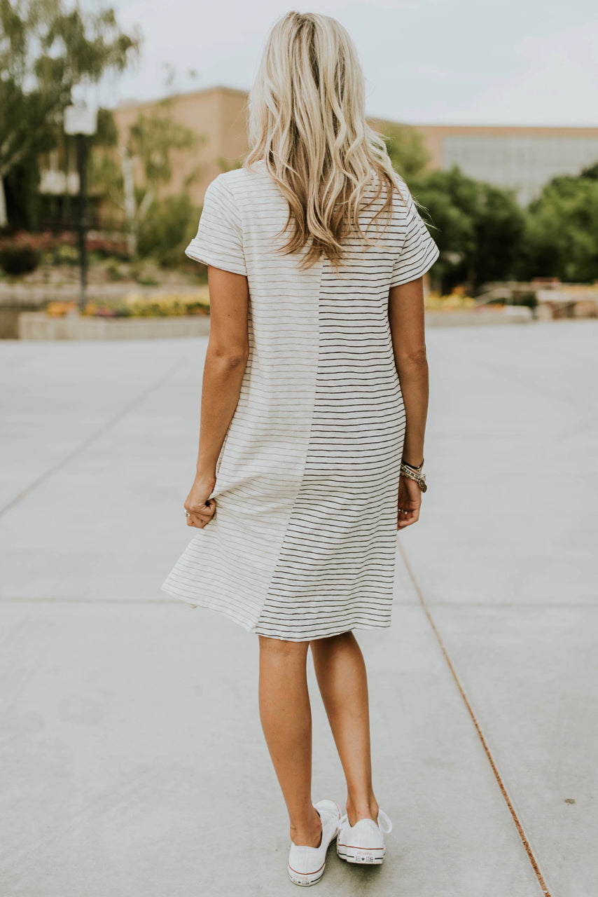 Navy and White Stripe Dress | ROOLEE