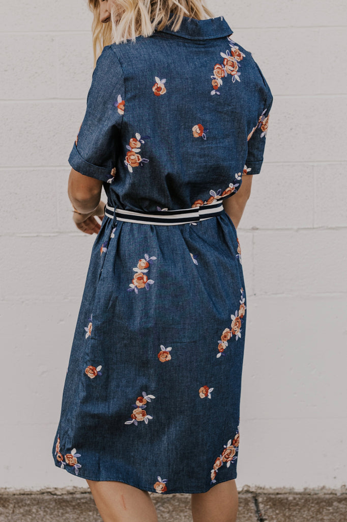 Floral Print Denim Dress | ROOLEE