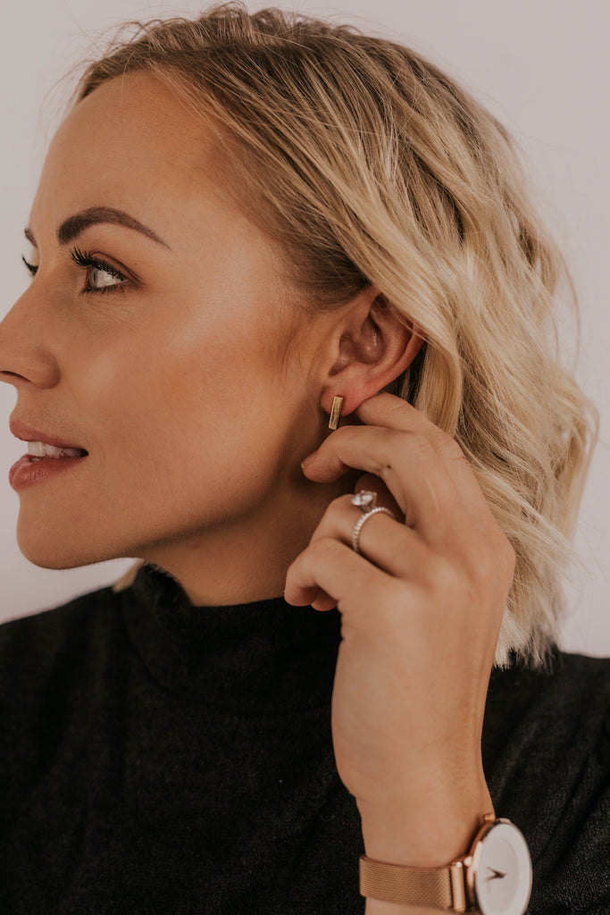 Gold Bar Earrings | ROOLEE