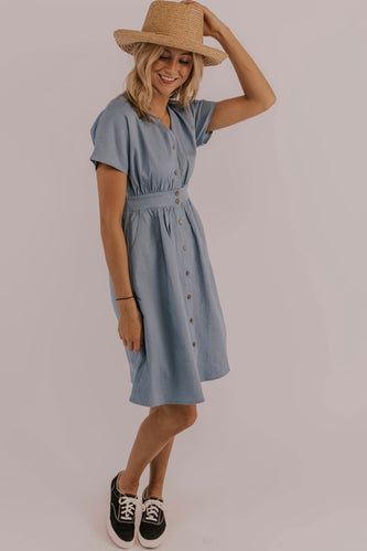 Denim Dress Modest Outfit Spring/Summer| ROOLEE