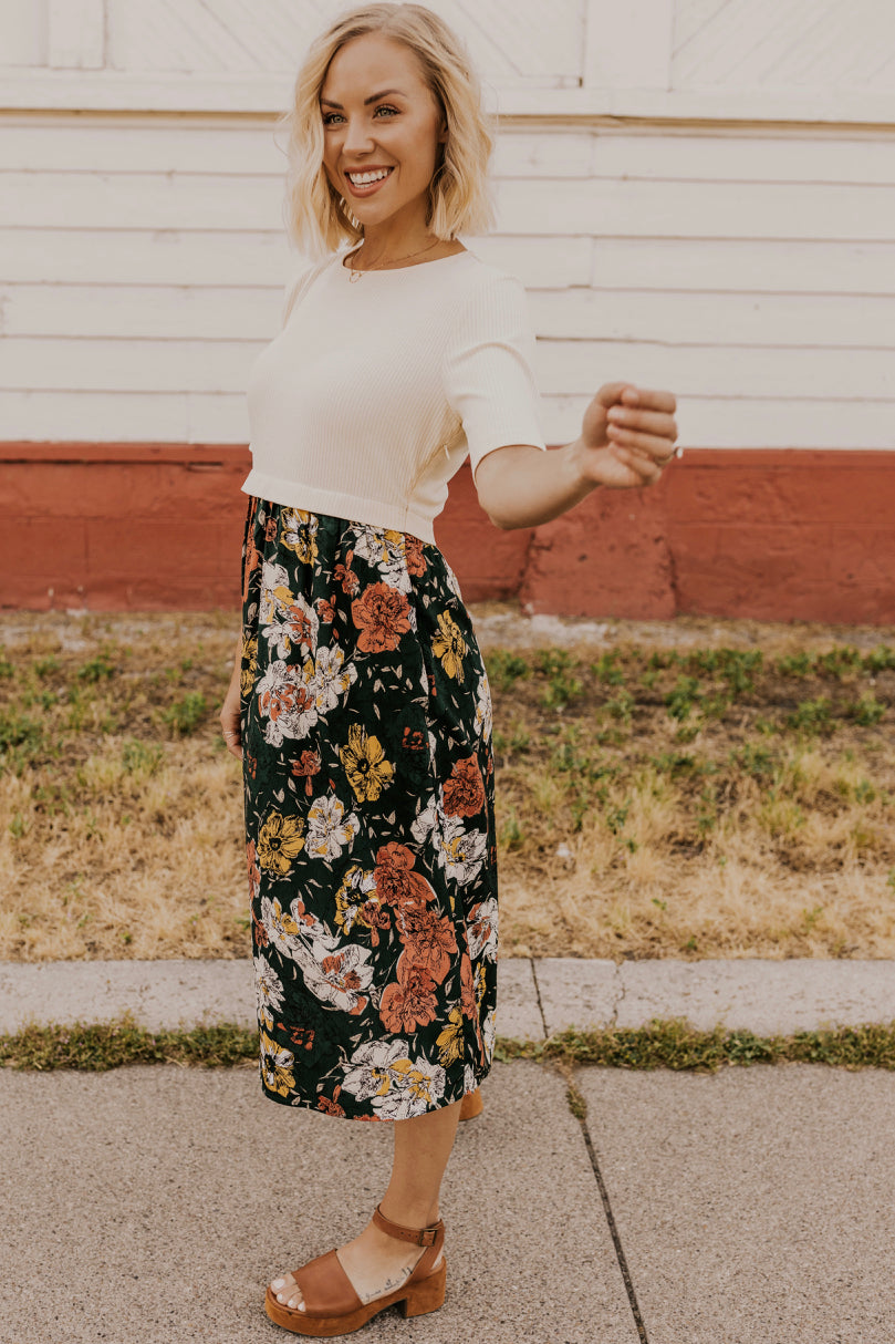 Floral Contrast Dress | ROOLEE