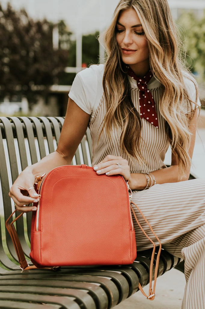 Red Faux Leather Backpack | ROOLEE