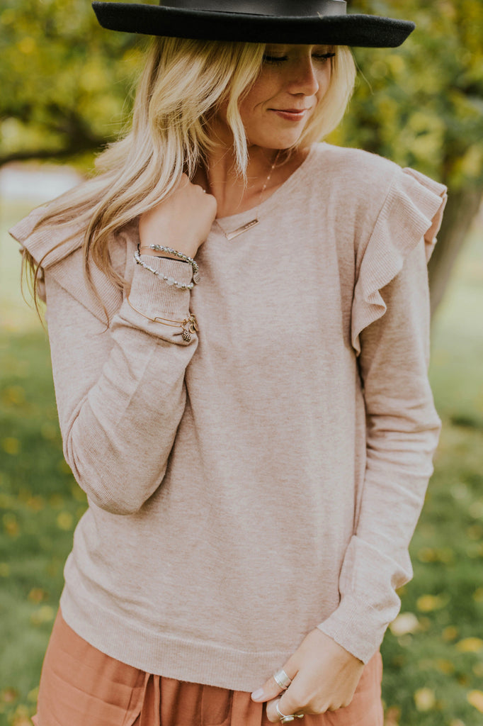 Cute and Casual Ruffle Sweater Top For Women | ROOLEE