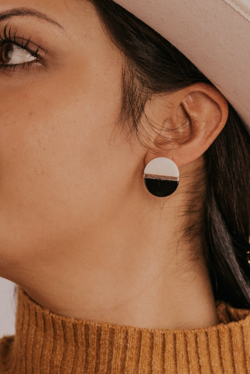 Black and White Contrast Earrings | ROOLEE