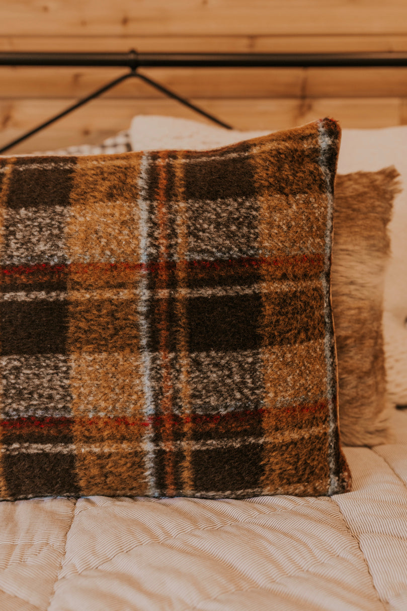 Brown Plaid Pillow | ROOLEE
