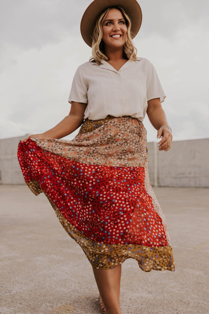 Boho Colorblock Floral Skirt | ROOLEE