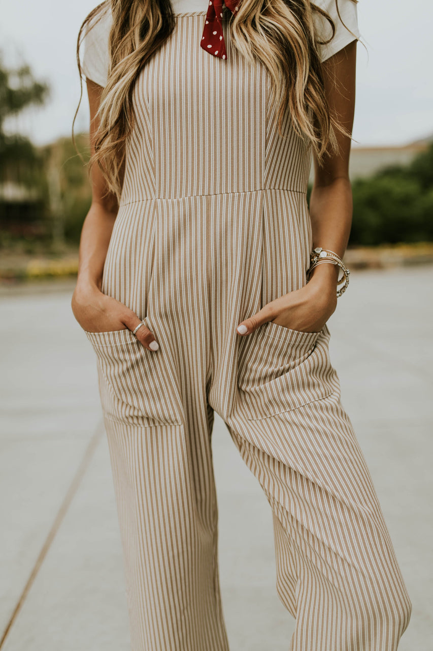 Tan and White Stripe Jumpsuit | ROOLEE