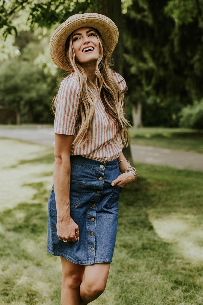 Pink + Ivory Stripe Blouse For Women | ROOLEE