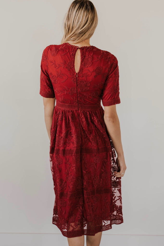 Elegant Floral Lace and Mesh Midi Dress | ROOLEE