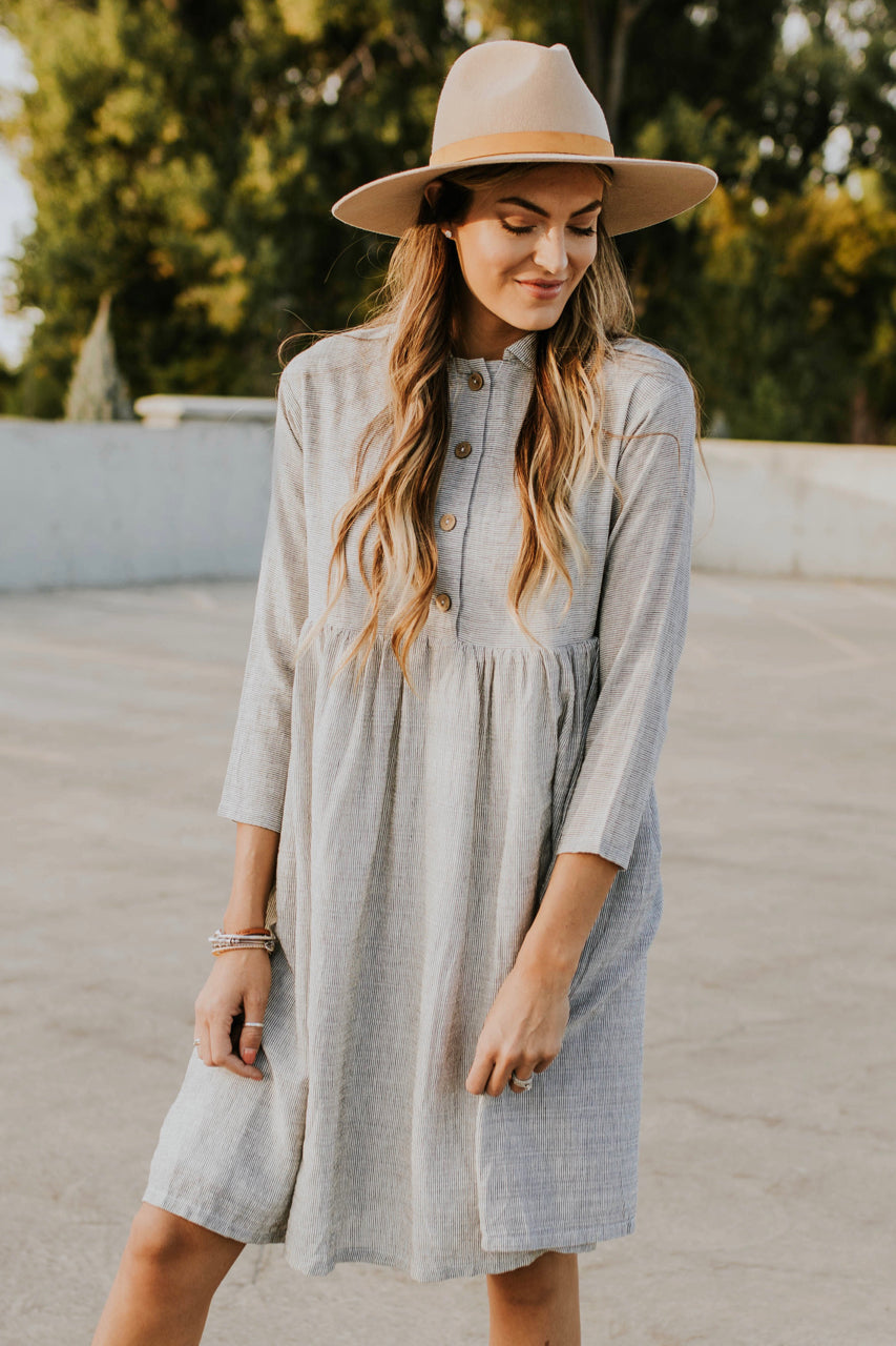 Grey Stripe Button Dress | ROOLEE